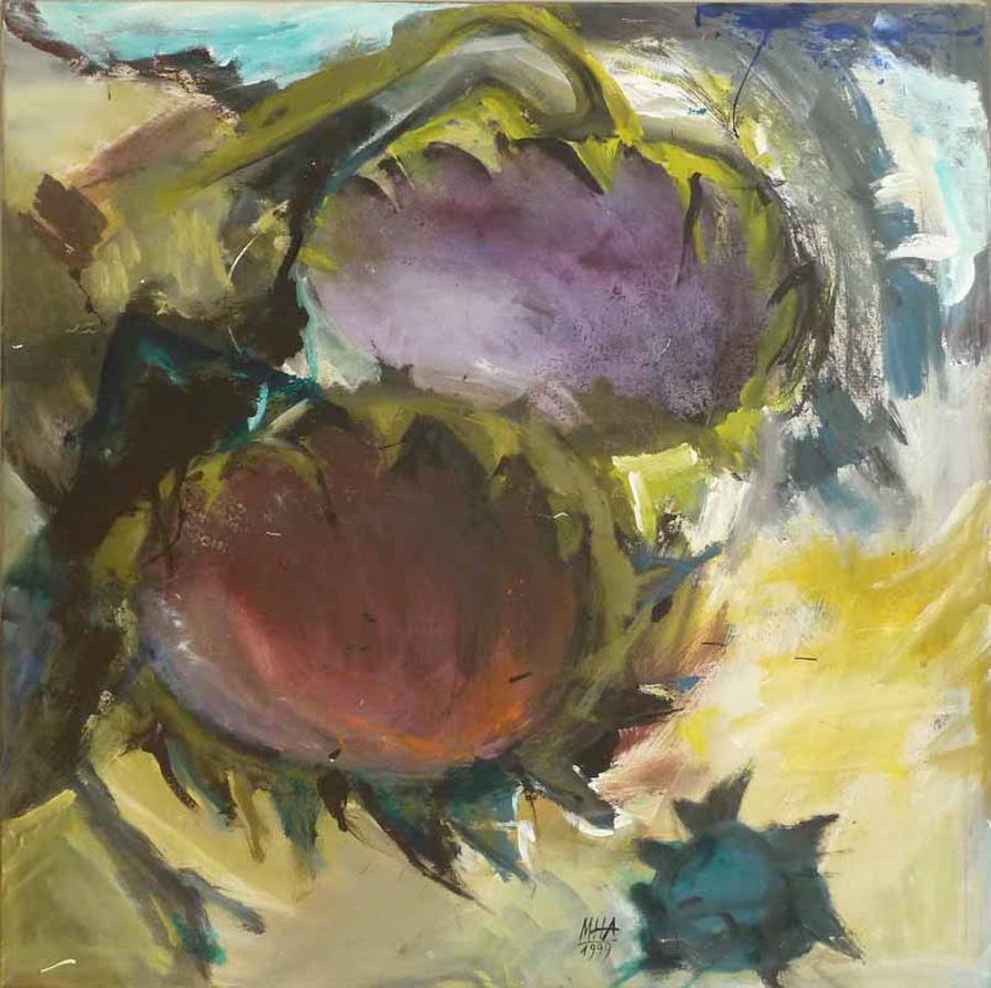 zwei Sonnenblumen 3, 100x100, 1999