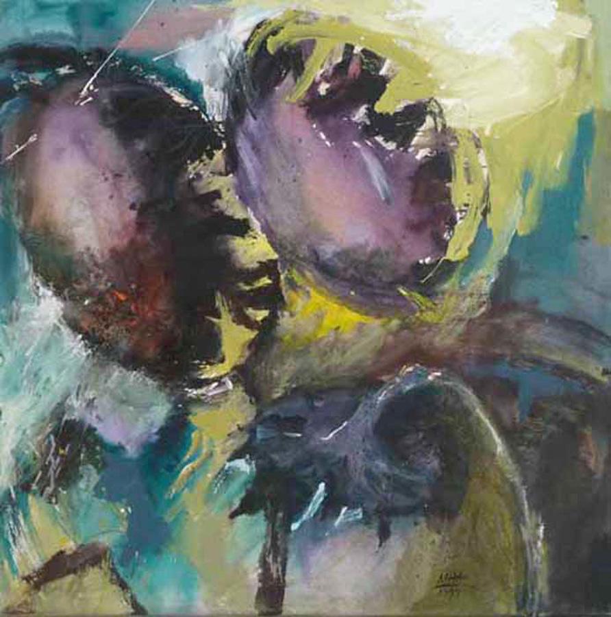 zwei Sonnenblumen 4, 100x100, 1999