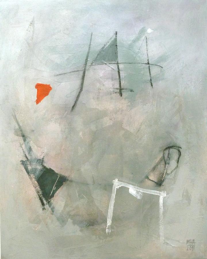 GRAU mit rotem 3eck, 80x100, 2013