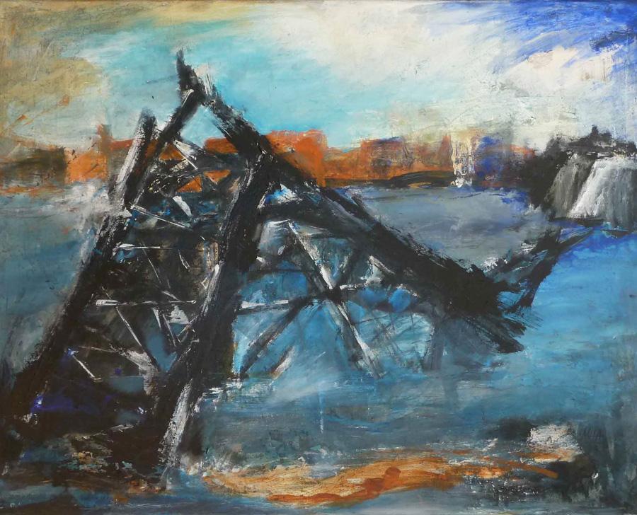 zerstörte Brücke, 80x105, 1999