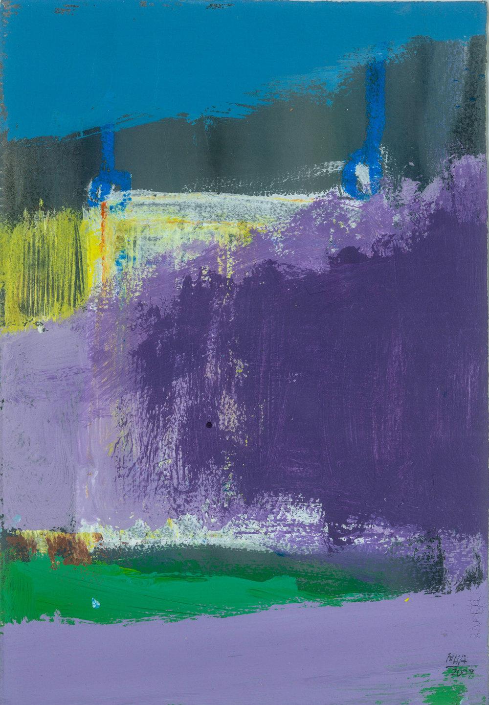 07  LANDHAUS, 2009, Acryl auf Papier, 15x23,5 cm