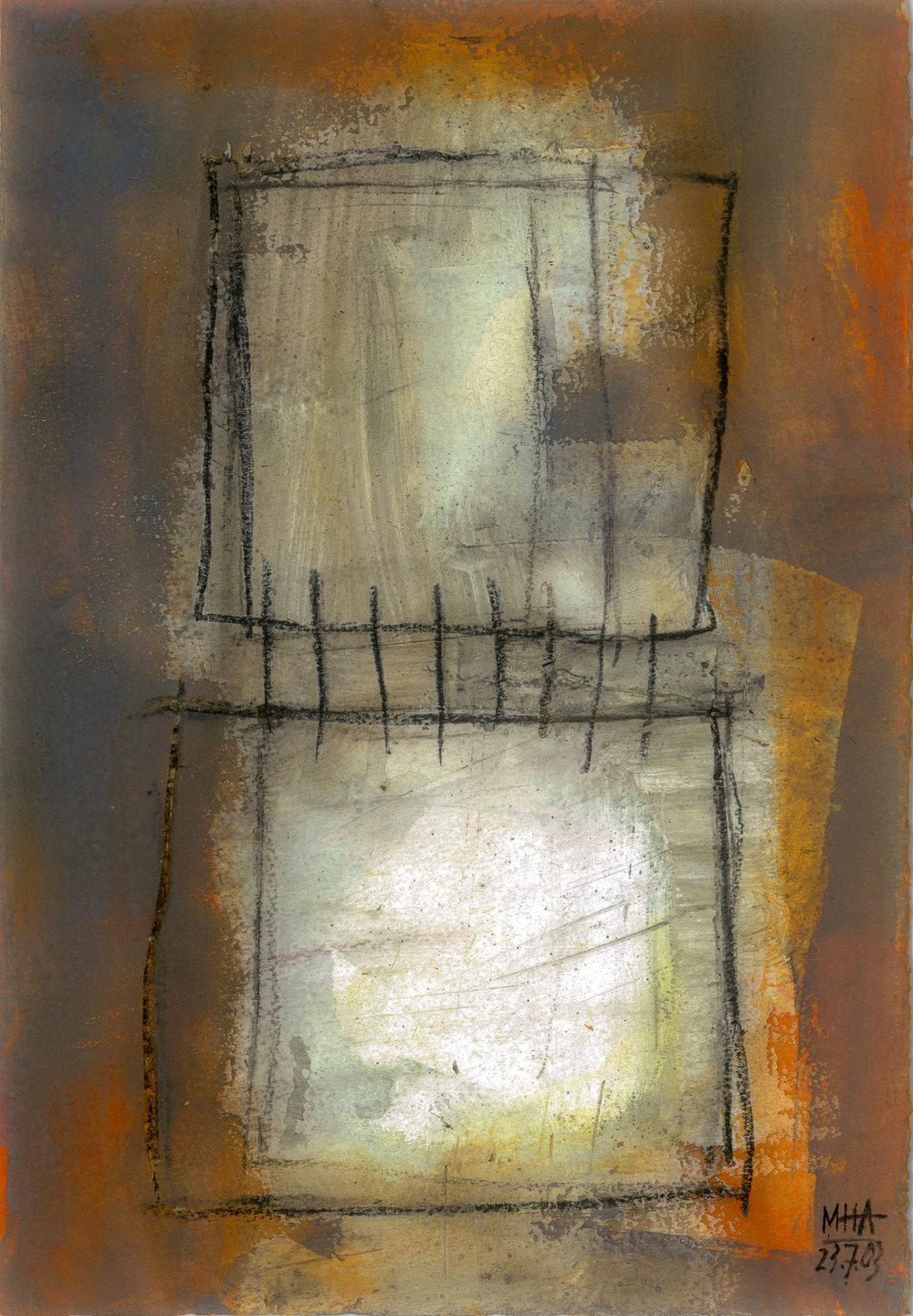 11  VERBUNDEN, 2003, Acryl auf Papier, 15x23,5 cm