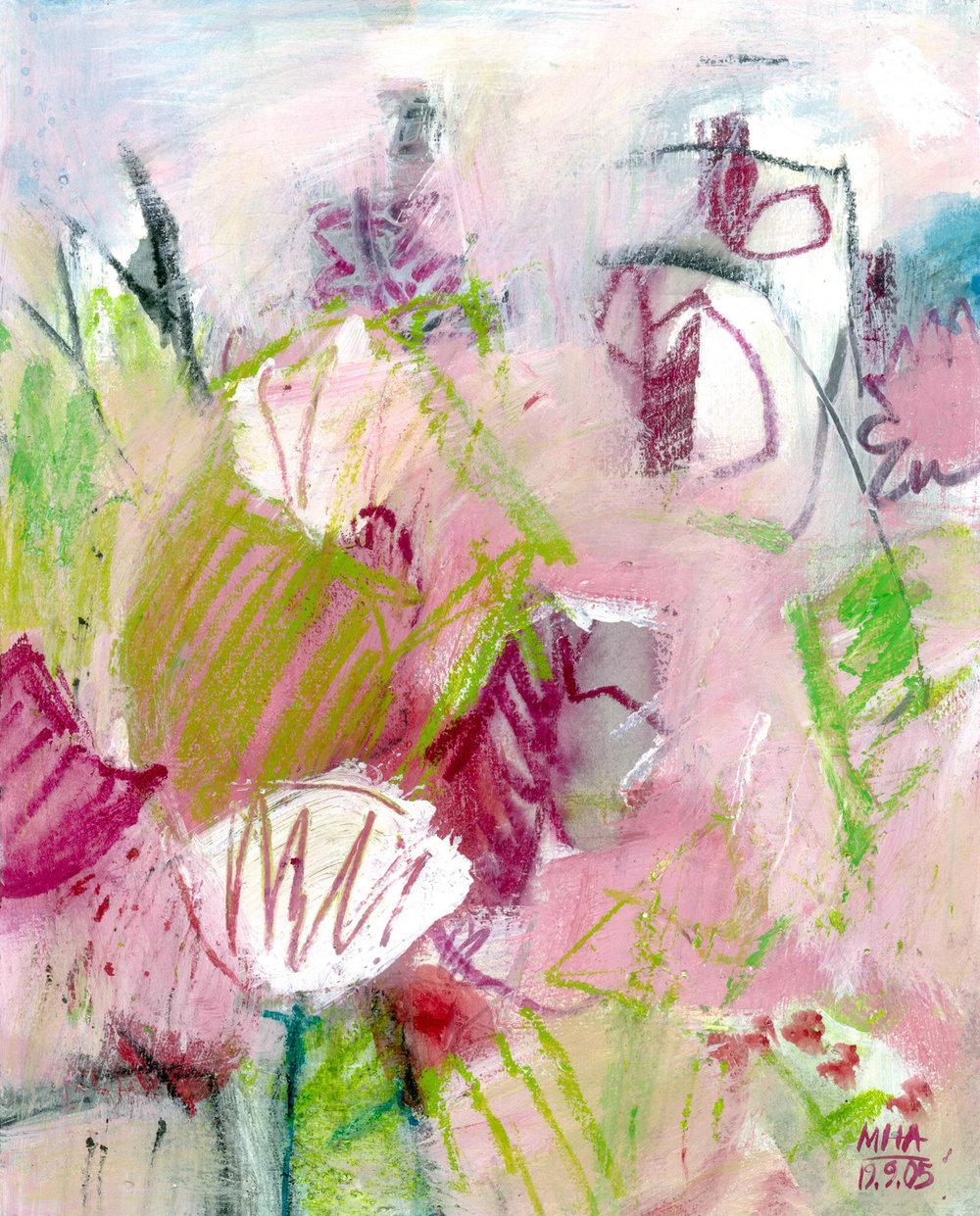 13  VERRÜCKT, 2005, Acryl auf Papier, 24x30 cm