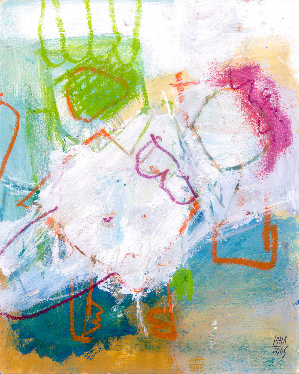 15  BEGLÜCKT, 2005, Acryl auf Papier, 24x30 cm