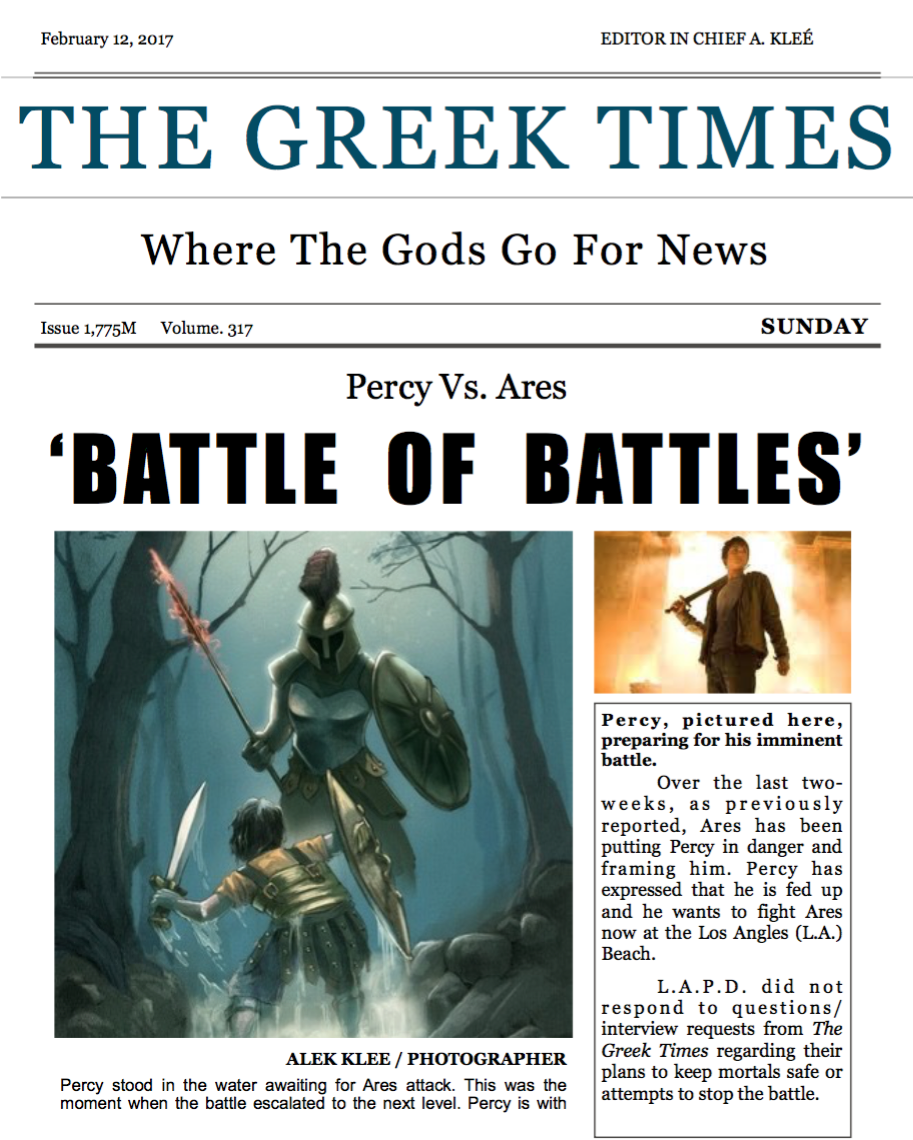 My Older Son designed and wrote THIS Newspaper Layout for his school reading assignment. Percy Jackson never looked so good. Of course mom helped with a few technical pieces after he sketched out his ideas (all design starts with a good sketch :-)