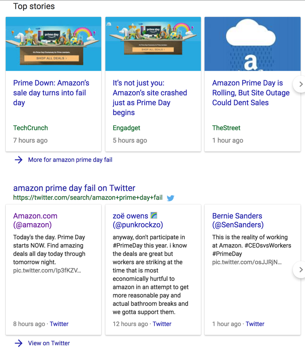 It always stinks when the Google.com Read More link says: --> More for Amazon Prime Day Fail, but kudos to amazon because sales still soared
