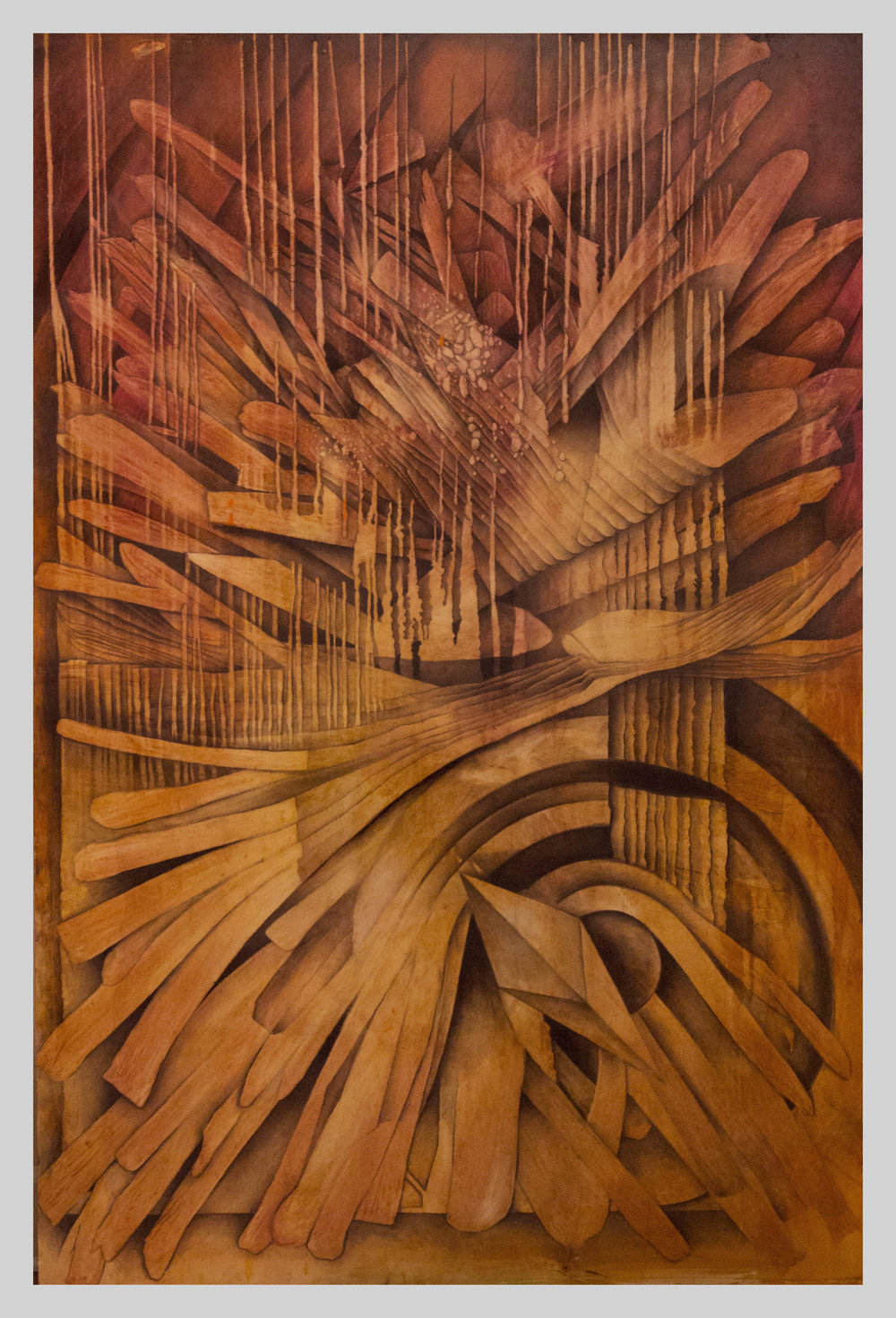 "Time Flies  48"" x 72"" oil and charcoal on wood panel"