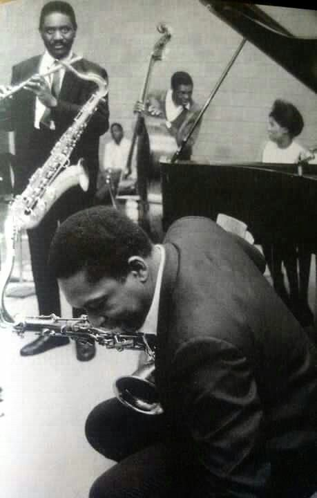 Coltrane, Sanders (standing), and the rest of the last quintet.