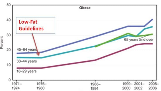 The obesity epidemic in America started nearly the exact year that low-fat guidelines were put in place!