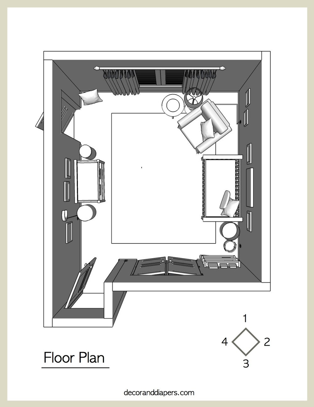 3D Floor Plan  - View your furniture layout to scale, true to size, according to your room dimensions