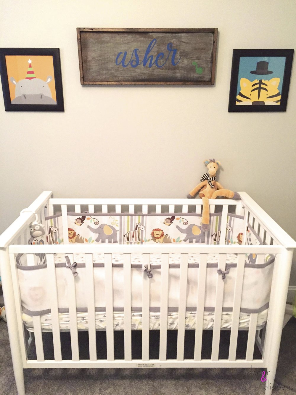 The crib and adorable diy name artwork (made by the clients)
