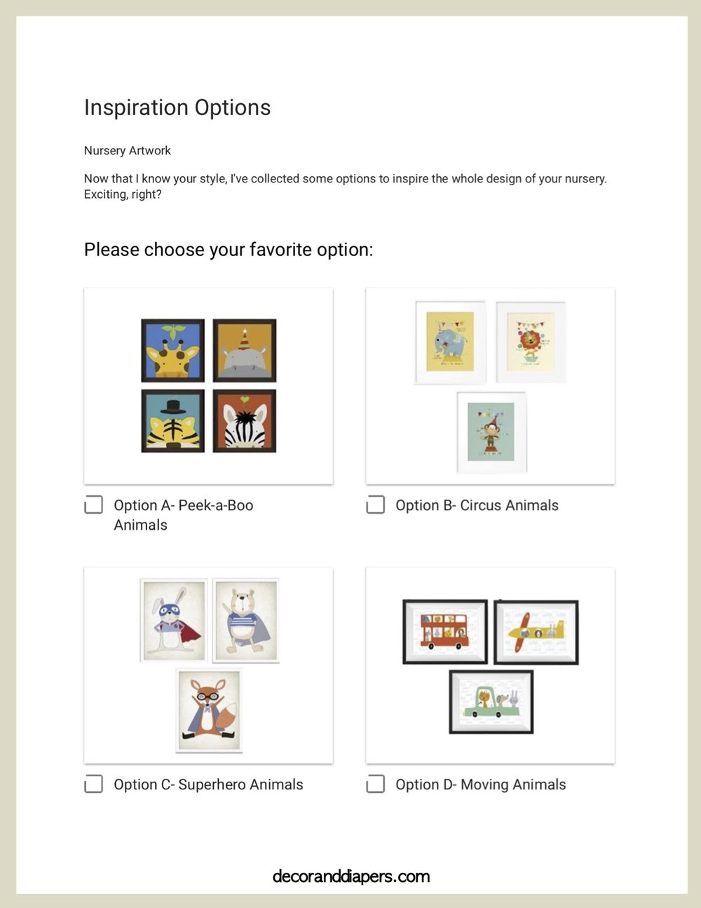 Inspiration Options - Choose your favorite option from the 4 decor options I'll offer you, based on your answers from my E-Design Style Guide. This will inspire your personal and unique design!