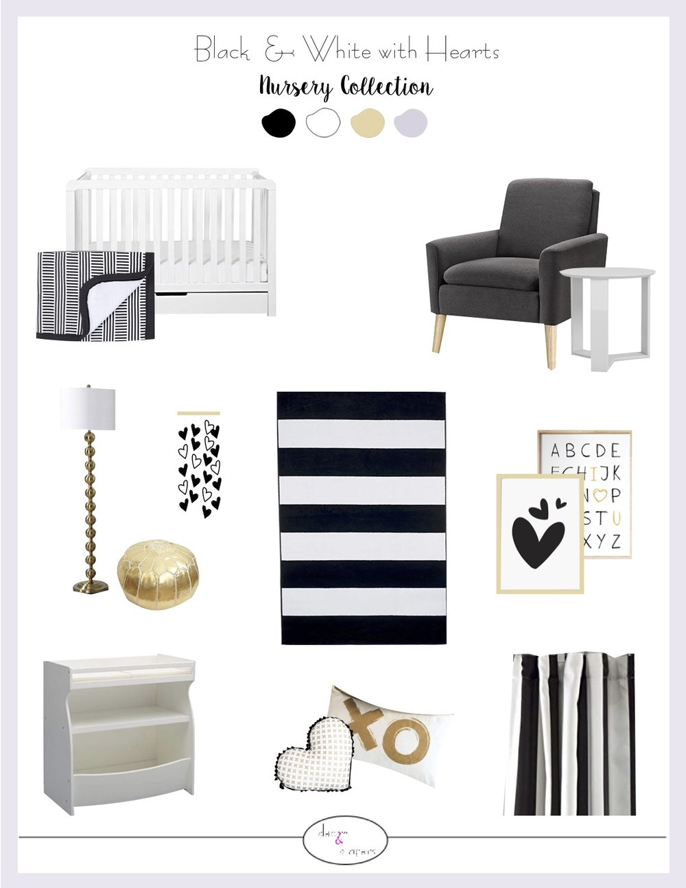 Black and white hearts nursery