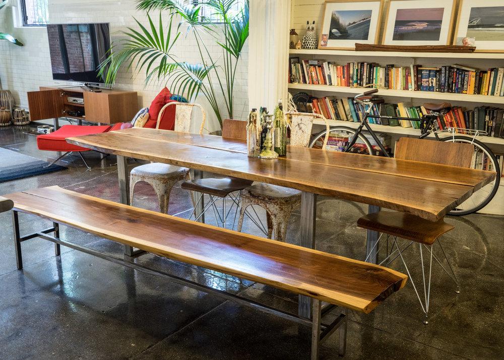 Black Walnut Live-Edge Table +Bench / Custom Stainless Steel Base