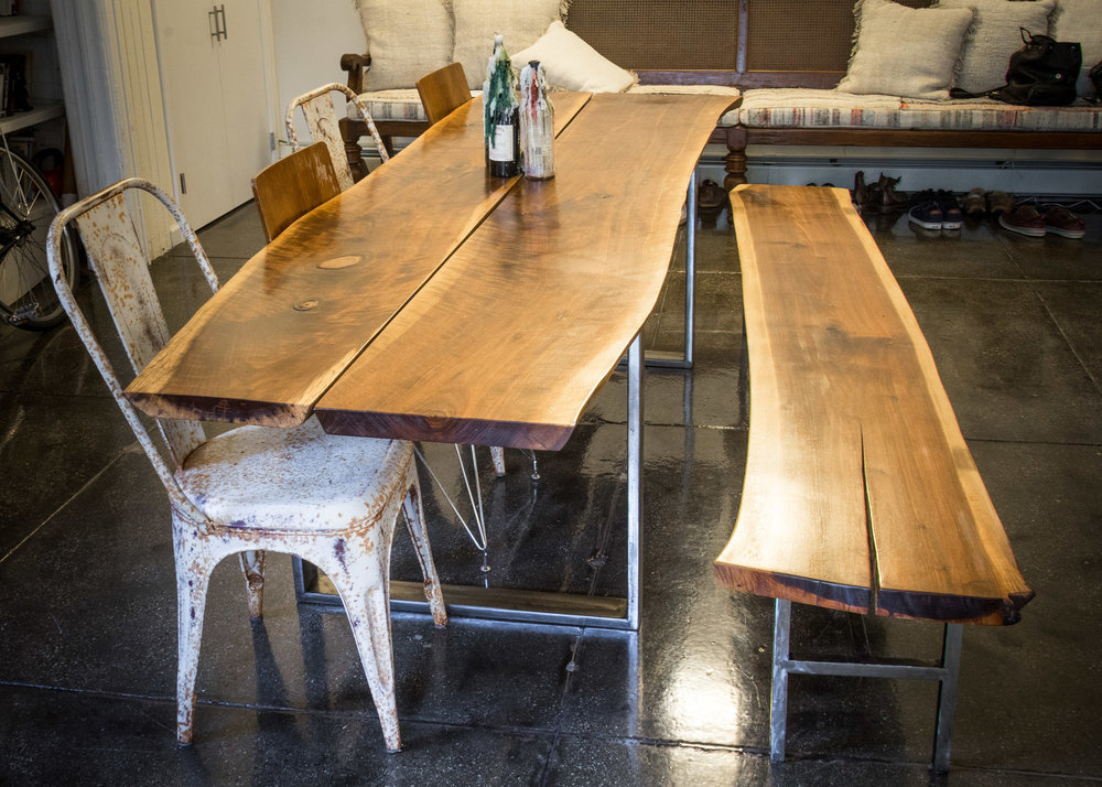 Black Walnut Live-Edge Table + Bench /   Custom Stainless   Steel Base