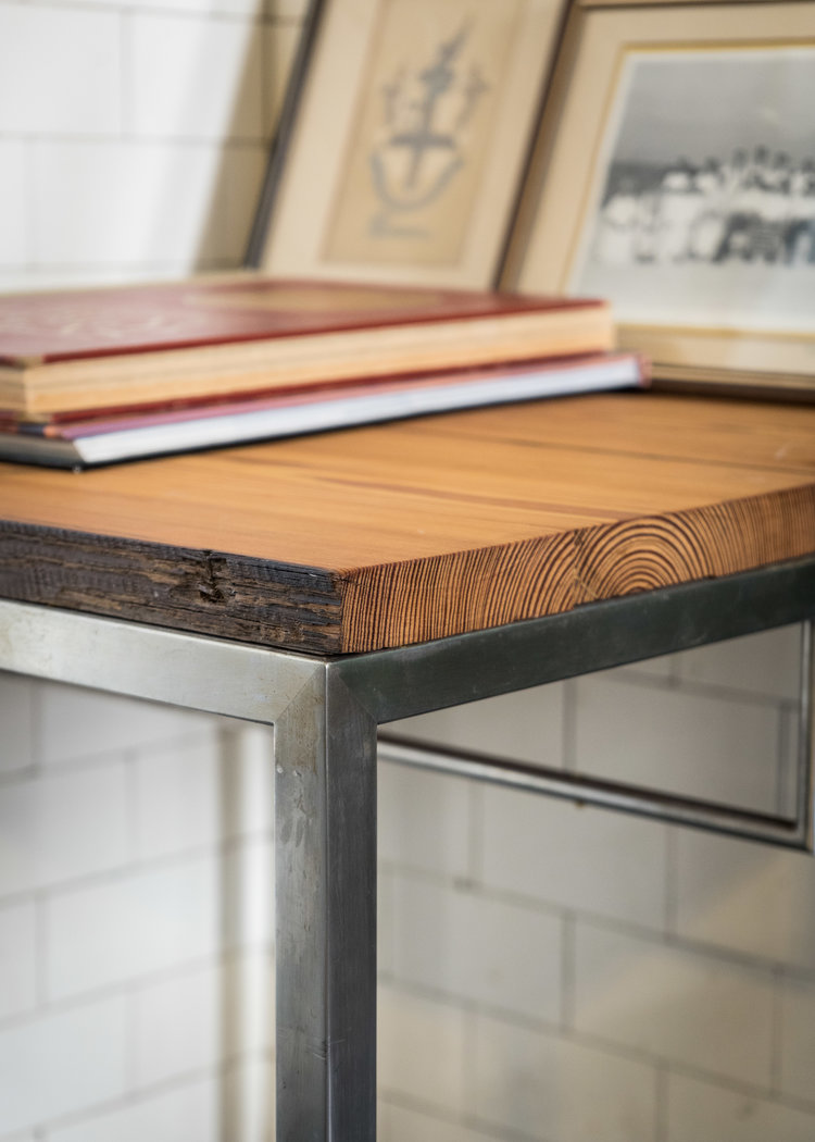 Yellow Pine Table / Stainless Steel Base