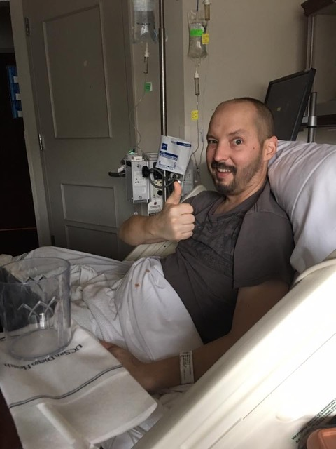 """""""Tommy…all crazy swollen from chemo, but still managing a thumbs up ….that was his personality. ALWAYS positive. No matter what."""""""