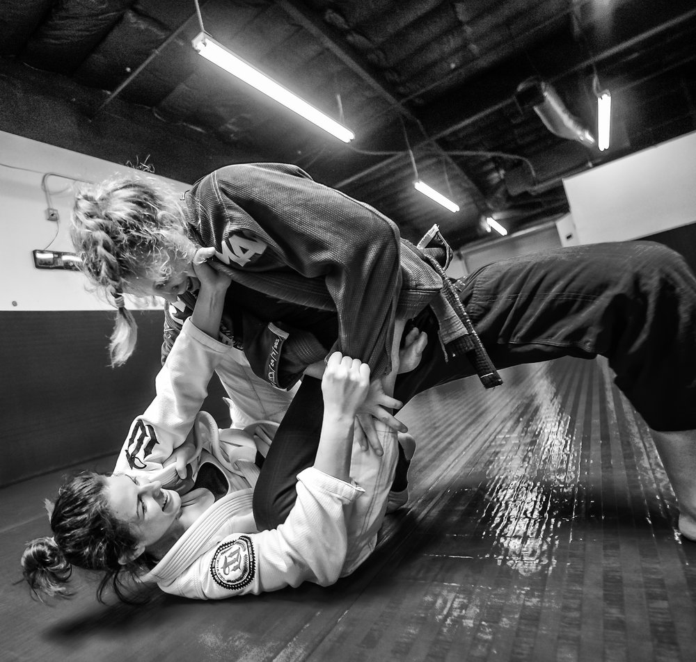 Rachel and training partner Black Belt Sophia Nordenö. They share techniques and moves to help one another improve their BJJ Game.