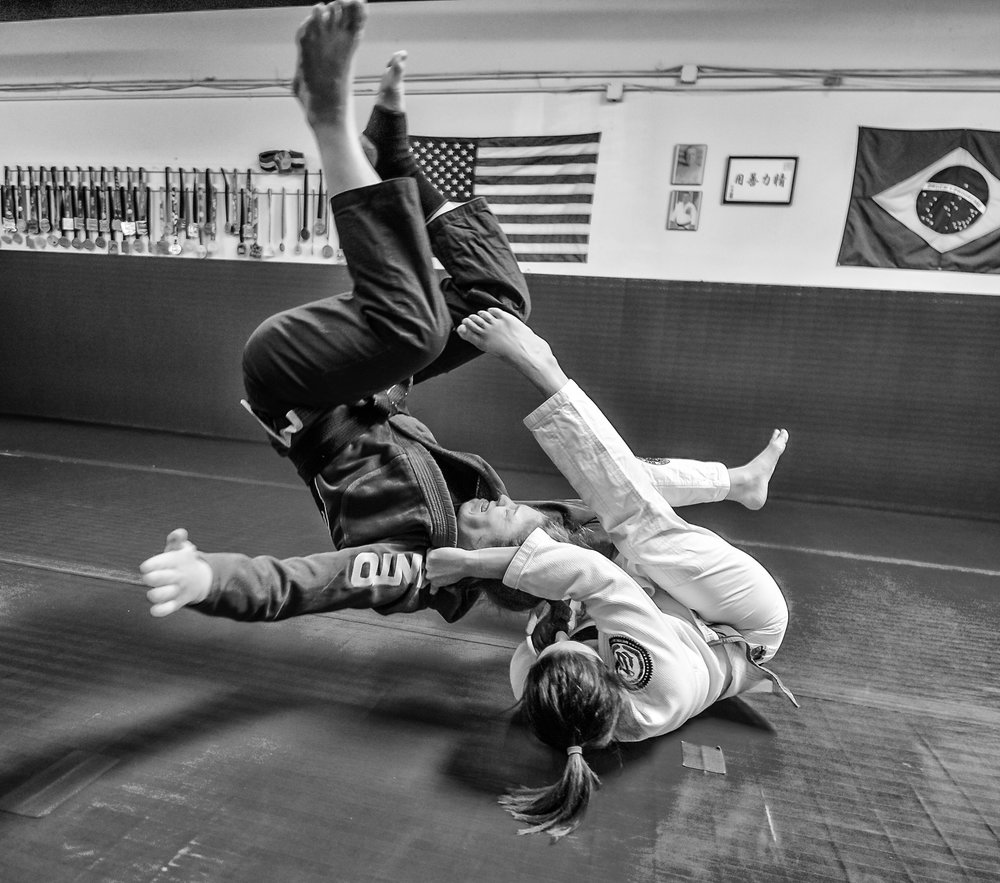 Although a lower rank in Jiu Jitsu, Rachel can hold her own pretty well :)