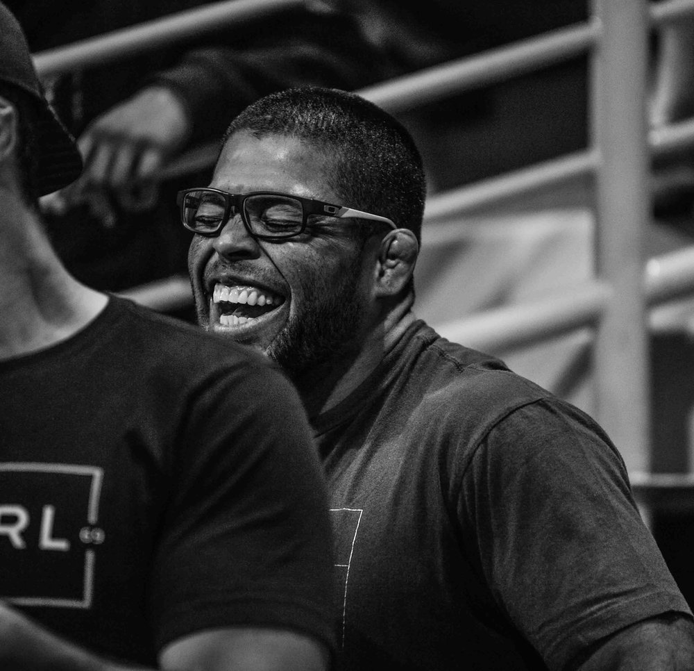 5 X World Champion André Galvão did not compete this year at Worlds. André is here enjoying being a coach and smiling all the way to his team, Atos, defeating the 11 time reigning champions, Alliance Jiu Jitsu.
