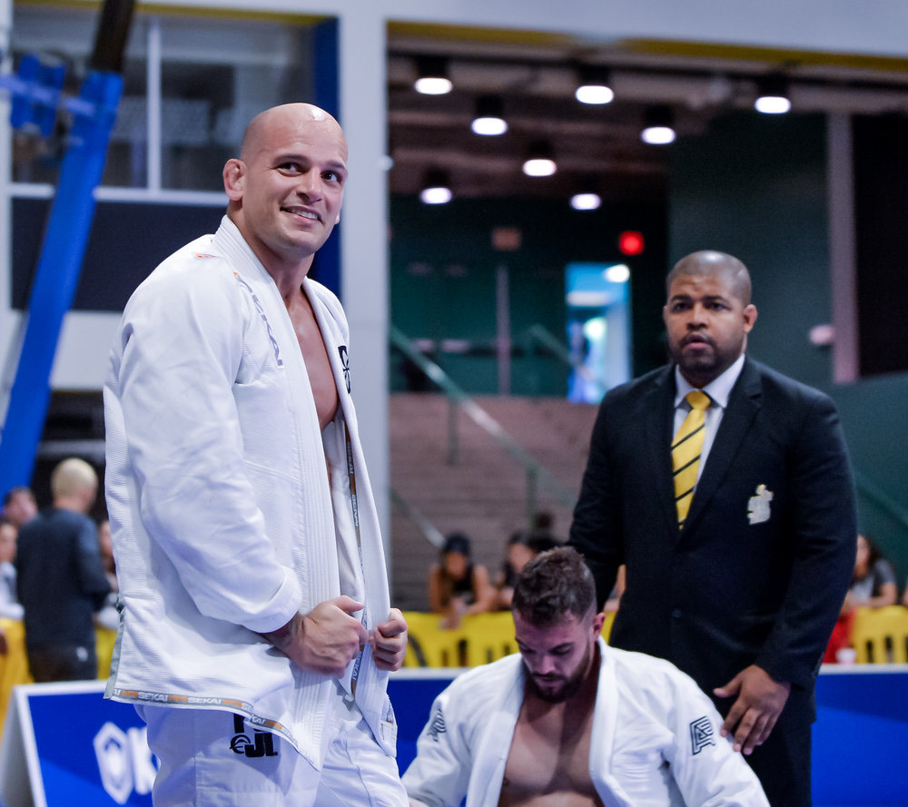 Legend Xande Ribeiro returned to the World Championships to vie for his 6th Heavy Weight title (he's also a 2 X Absolute Champion). This photo was taken after Xande defeated his first opponent and heard his 8 year old daughter shouting her joy to him from the stands.