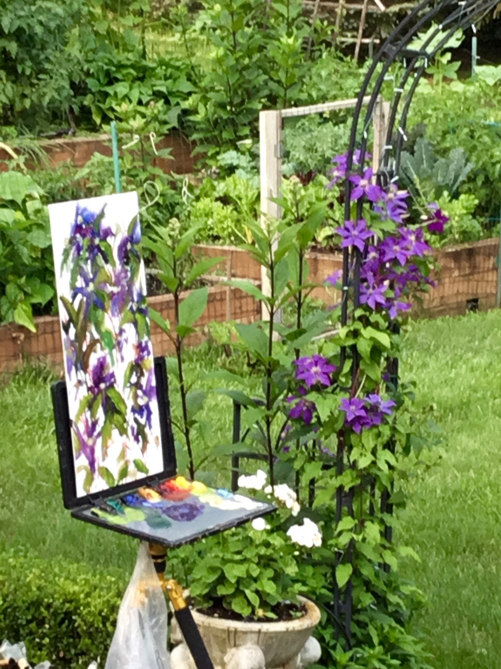 Painting in the garden.