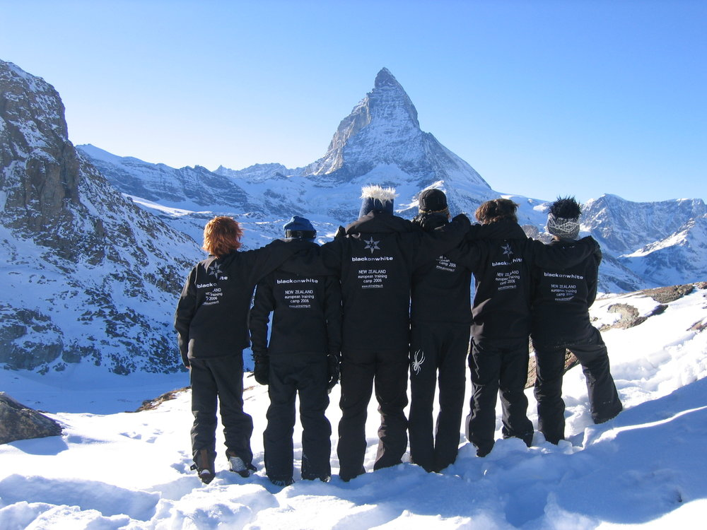 New Zealand European Training Camp sporting the blackonwhite logo in Zermatt, Switzerland, 2006.