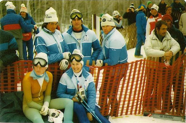 Snowvision CEO Fiona Stevens (front right), Mark Vryenhoek, Stuart Blakely, Scott Kendall, Anna Archibaldat the 1980 Winter Olympics.