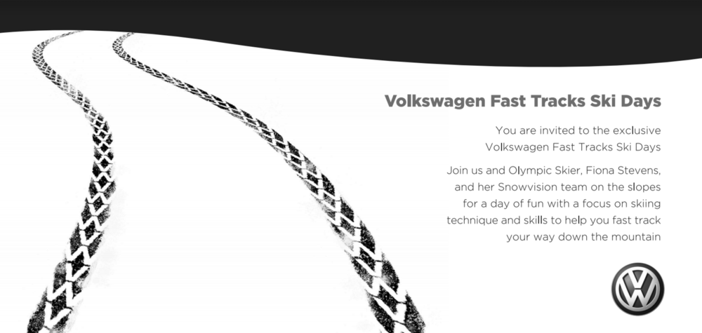 Invitation to the VW Blackonwhite Ski Days.