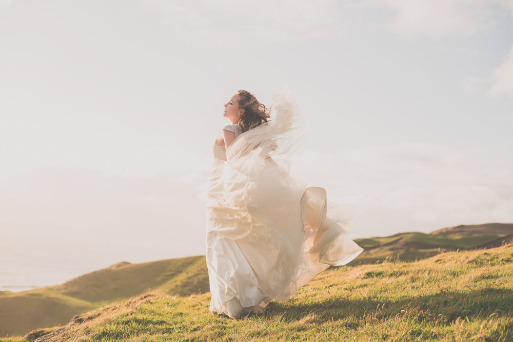 bride with blowing dress {Auckland wedding photographer}