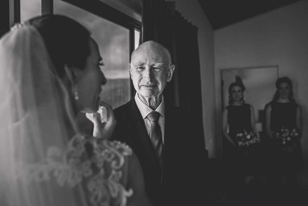 bride with her dad - first look Castaways {Tauranga wedding photographer}