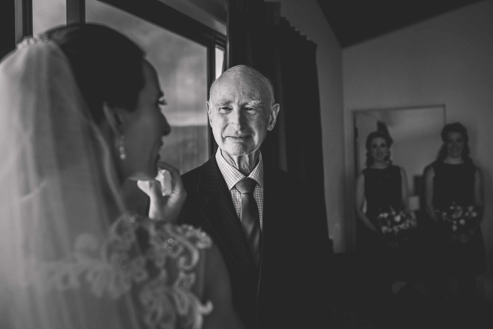 first look bride with dad - Levien Lens Photography