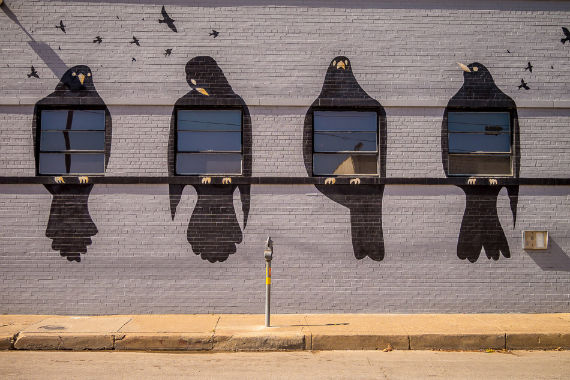 A mural of blackbirds frames four windows on a building in Deep Ellum, Dallas, Texas
