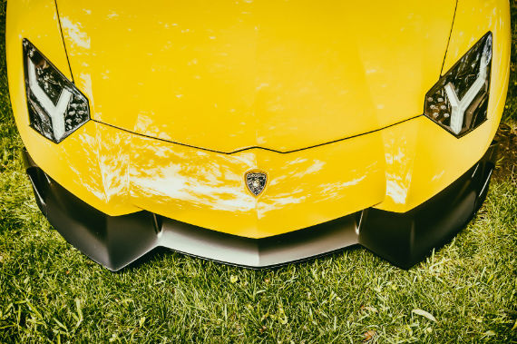 Detail of a Lamborghini Aventador—named for a bull that fought valiantly at the Saragossa, Spain bullring in 1993—at the Cars in the Park event at Dallas' Cooper Aerobics Center.