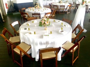 "120"" Round Table Linen Full drop on 66"" round tables and 30"" round highboys."