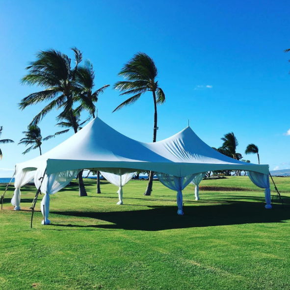 20x Marquee Style Tent with white leg drapes at Turtle Point at the Fairmont Orchid Hotel.