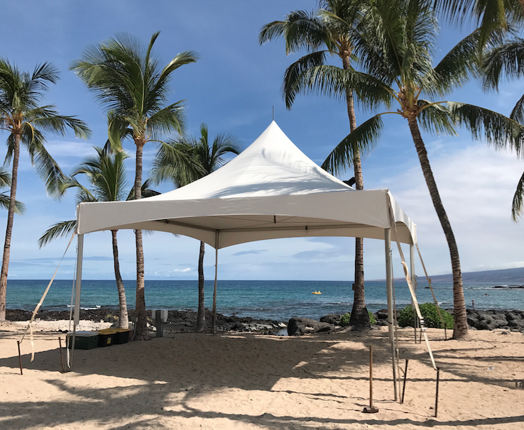 20x Marquee Style tent with extended legs for a stage at the Coconut Grove at the Fairmont Orchid Hotel.
