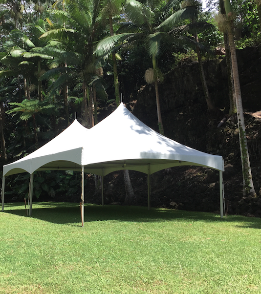 20x Marquee Style tent at Reed Island private home in Hilo.