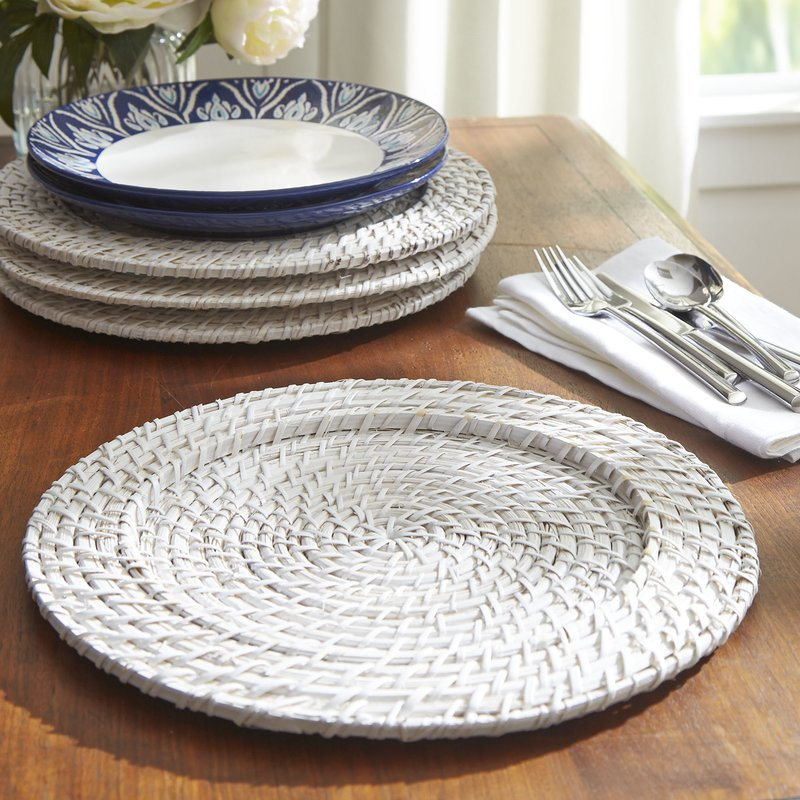 White Rattan Charger