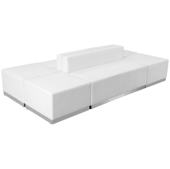 (6) Piece White Leather Sectional
