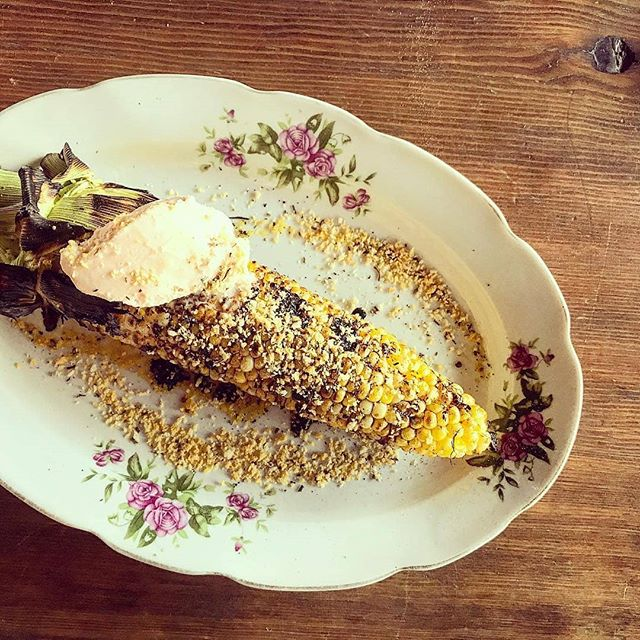 Oh, we trust you. 🤤 ● #Repost | @dinechartier ・・・ Call us crazy....but this works.  Feature this evening:  Grilled corn on the cob(from the Taber corn truck down the road) with pink peppercorn and balsamic ICE CREAM @revolution_yeg topped with herbed panko. •  #yegfood #wecrazy #dinechartier #revolutionyeg #yegdessert