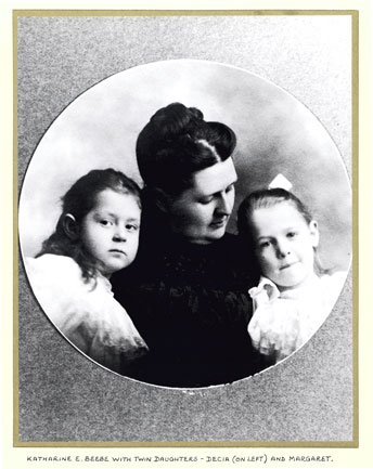 Katharine Beebe with her daughters Decia and Margaret