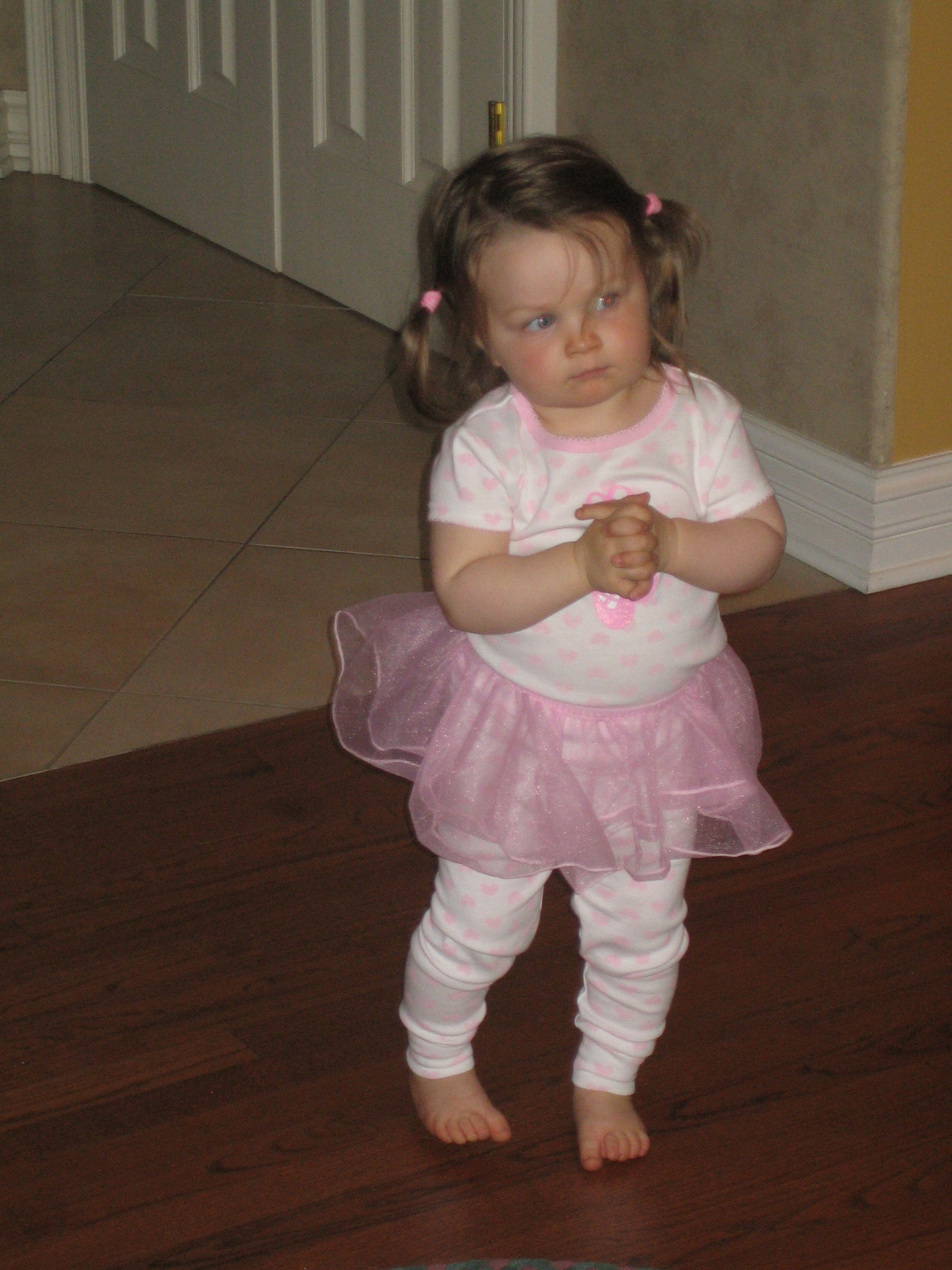 Gigi in her ballet outfit.