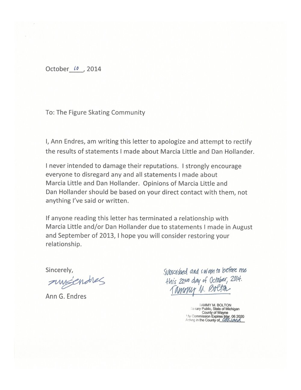 The apology letter of Ann Endres Skating Director for The City of