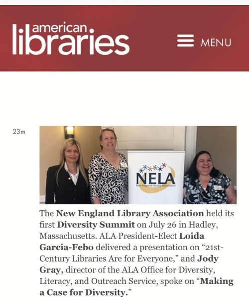 Loida Garcia-Febo with NELA President, Mary Danko, and with the Director of the ALA Office for Diversity, and Outreach Service, Jody Gray.