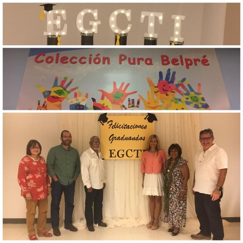 Loida Garcia-Febo with the Director of the EGCTI at the University of Puerto Rico, Dr. Jose Sanchez, and professors Dr. Luisa Vigo-Cepeda, Dr. Carlos Suarez-Balseiro, Dr. Betzaida Velez-Natal, and Dr. Eliut Flores-Caraballo.