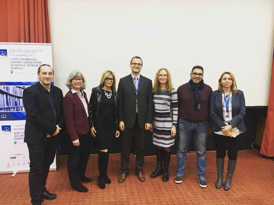Here with Presidents and representatives from library associations in Romania, Germany, Serbia, Latvia, and Cyprus