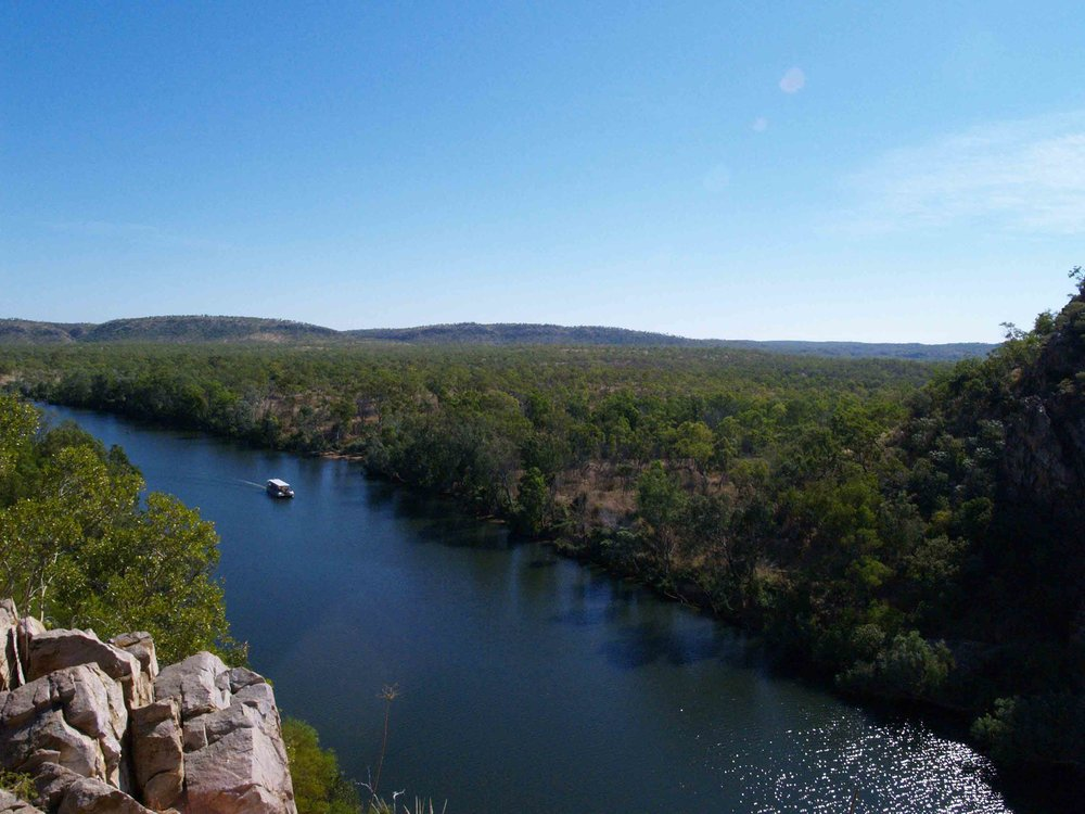 The charter boat that takes guests up the gorge as well as providing a ferry service across the Katherine River.