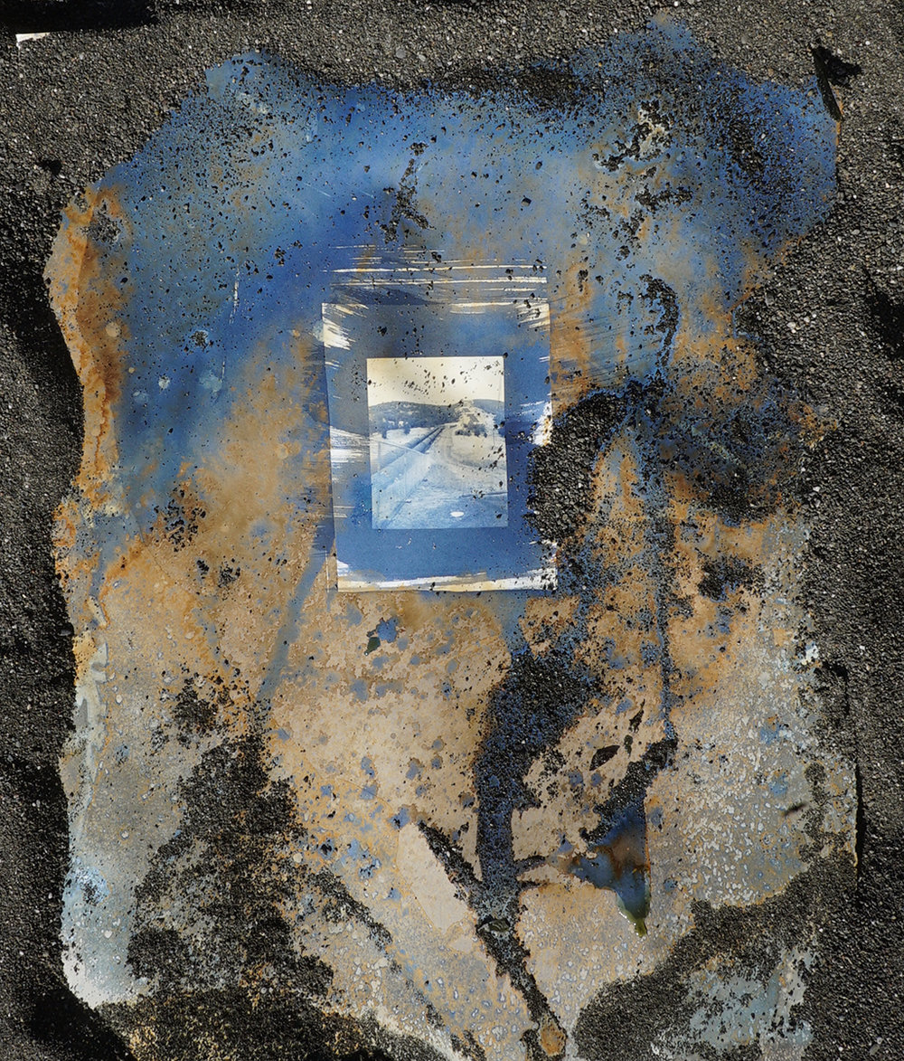 Second layer of cyanotype processing on the beach.