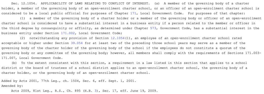 Chapter 12 of the Texas Education Code